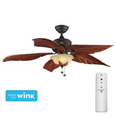 Antigua Plus 56 in. LED Oil-Rubbed Bronze Smart Ceiling Fan with Light Kit and WINK Remote Control