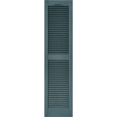 15 in. x 60 in. Louvered Vinyl Exterior Shutters Pair in #004 Wedgewood Blue