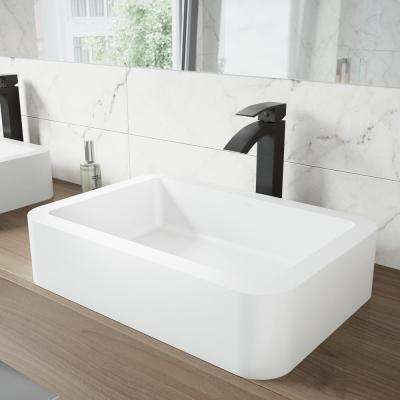 Navagio Matte Stone Vessel Sink in White with Duris Bathroom Vessel Faucet in Matte Black