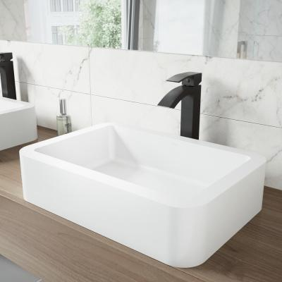 Matte Stone Petunia Composite Rectangular Vessel Bathroom Sink in White with Faucet and Pop-Up Drain in Matte Black