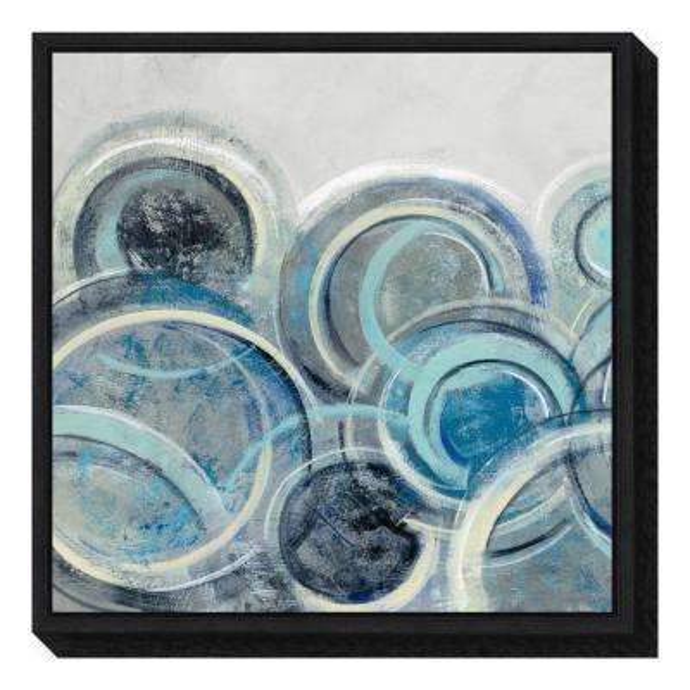 Variation Blue Grey Ii By Silvia Vileva Framed Canvas Wall Art