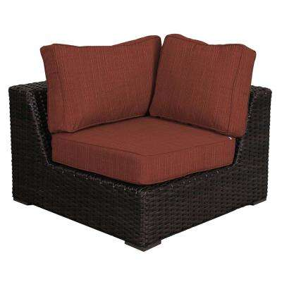 Santa Monica Patio Wicker Corner Outdoor Sectional Chair with Sunbrella Henna Dupione Cushion
