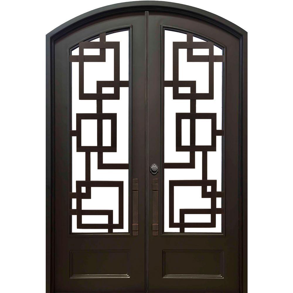 74 in. x 97.5 in. Eyebrow St. Andrews Dark Bronze Full Lite Painted Wrought Iron Prehung Front Door (Hardware Included)