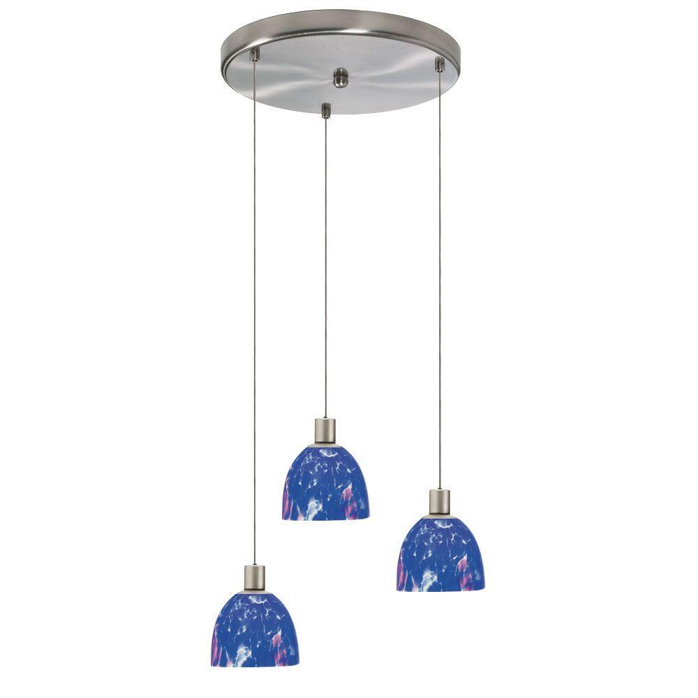 Radionic Hi Tech Industrial Chic 3-Light Satin Chrome Round Pendant with Blue Mosaic Glass