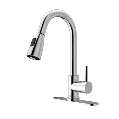 Single-Handle Pull-Out Sprayer Kitchen Faucet with Deck Plate in Chrome