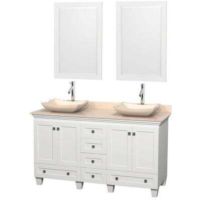 Acclaim 60 in. W Double Vanity in White with Marble Vanity Top in Ivory, Ivory Sinks and 2 Mirrors