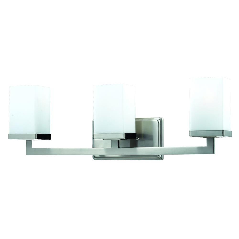 Phebe 3-Light Brushed Nickel Bath Vanity Light with Matte Opal Glass