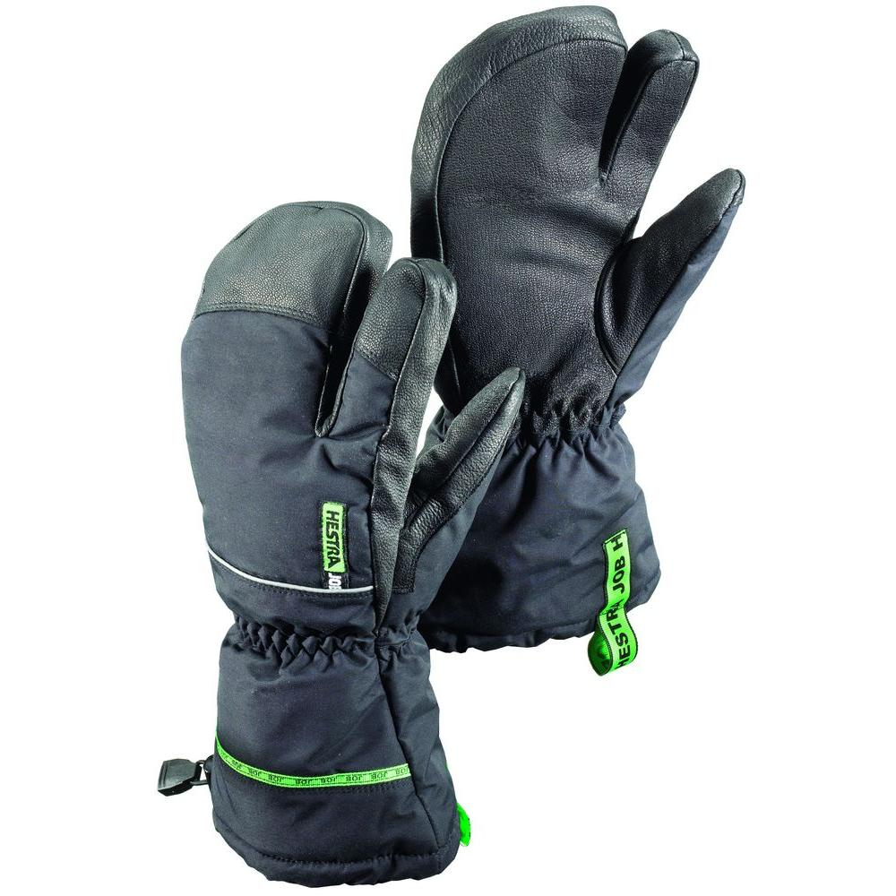 Hestra JOB GTX Pro 3-Finger Size 9 Large Cold Weather Insulated 3-Finger Glove Gore-Tex Membrane in Black