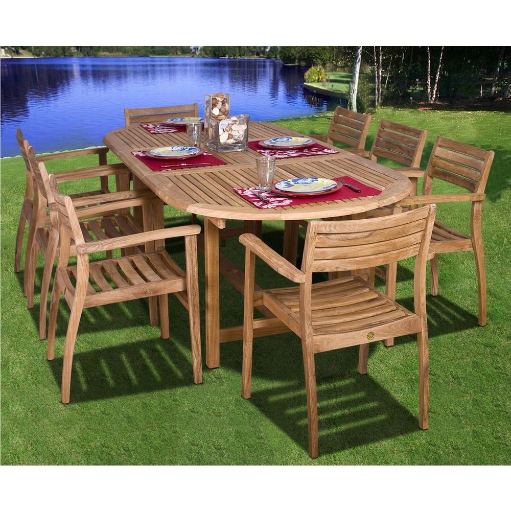 Amazonia Coventry 9-Piece Teak Patio Dining Set - Amazonia Coventry 9-Piece Teak Patio Dining Set-SC Dian_Oval/Ninia