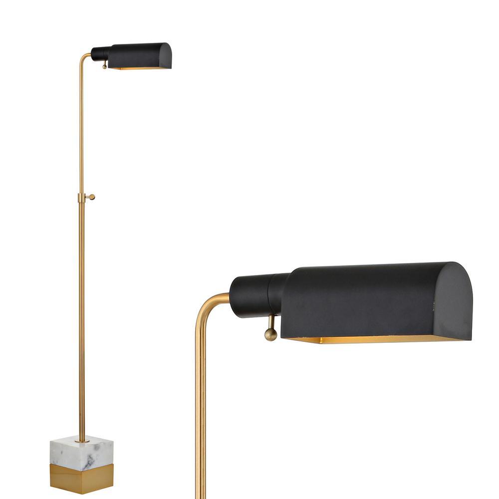 Iva 56.5 in. Brass Gold/Carrara Marble Adjustable Library Floor Lamp