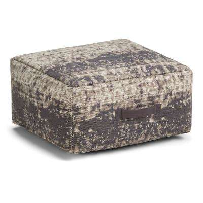 Tilley Taupe and Grey Square Pouf
