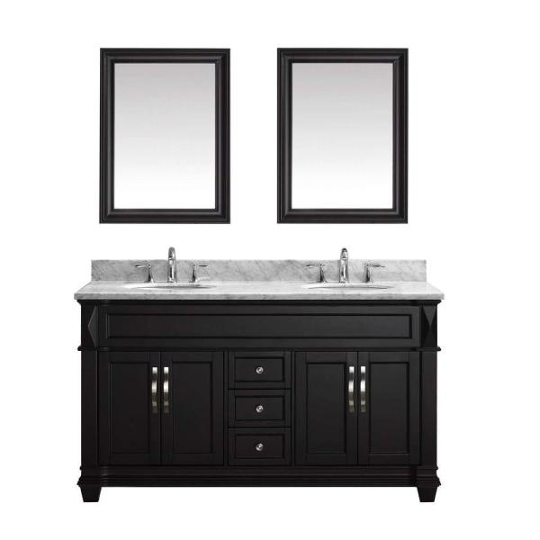 Victoria 60 in. W Bath Vanity in Espresso with Marble Vanity Top in White with Round Basin and Mirror