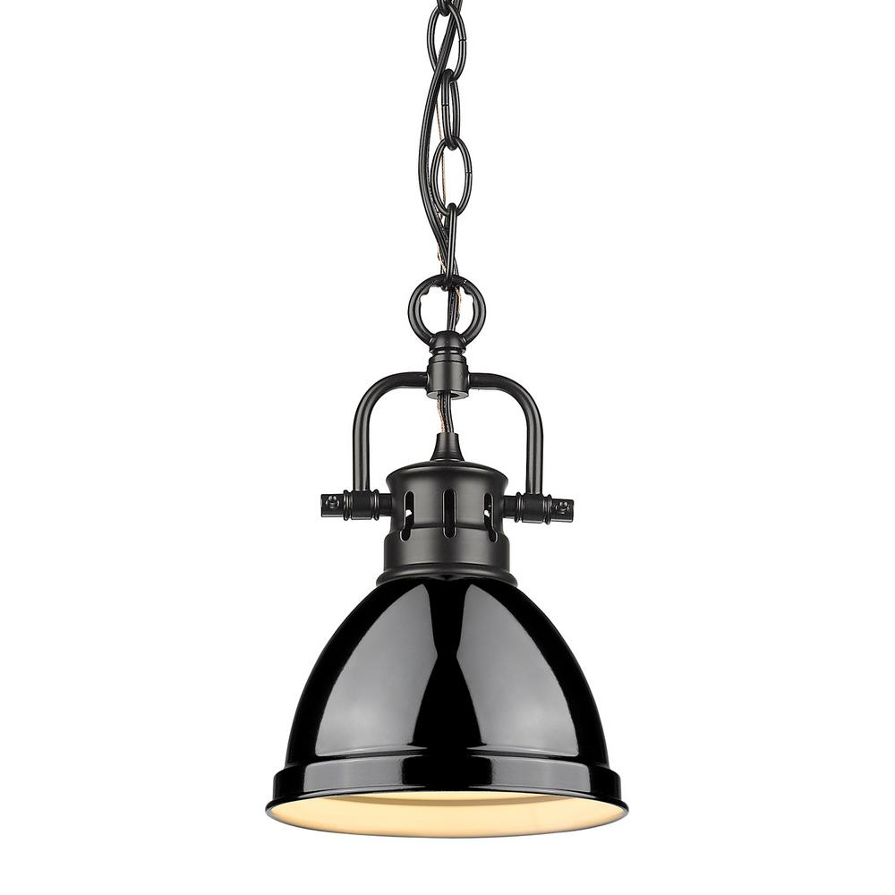 Golden Lighting Duncan 1 Light Black Mini Pendant And Chain With Shade