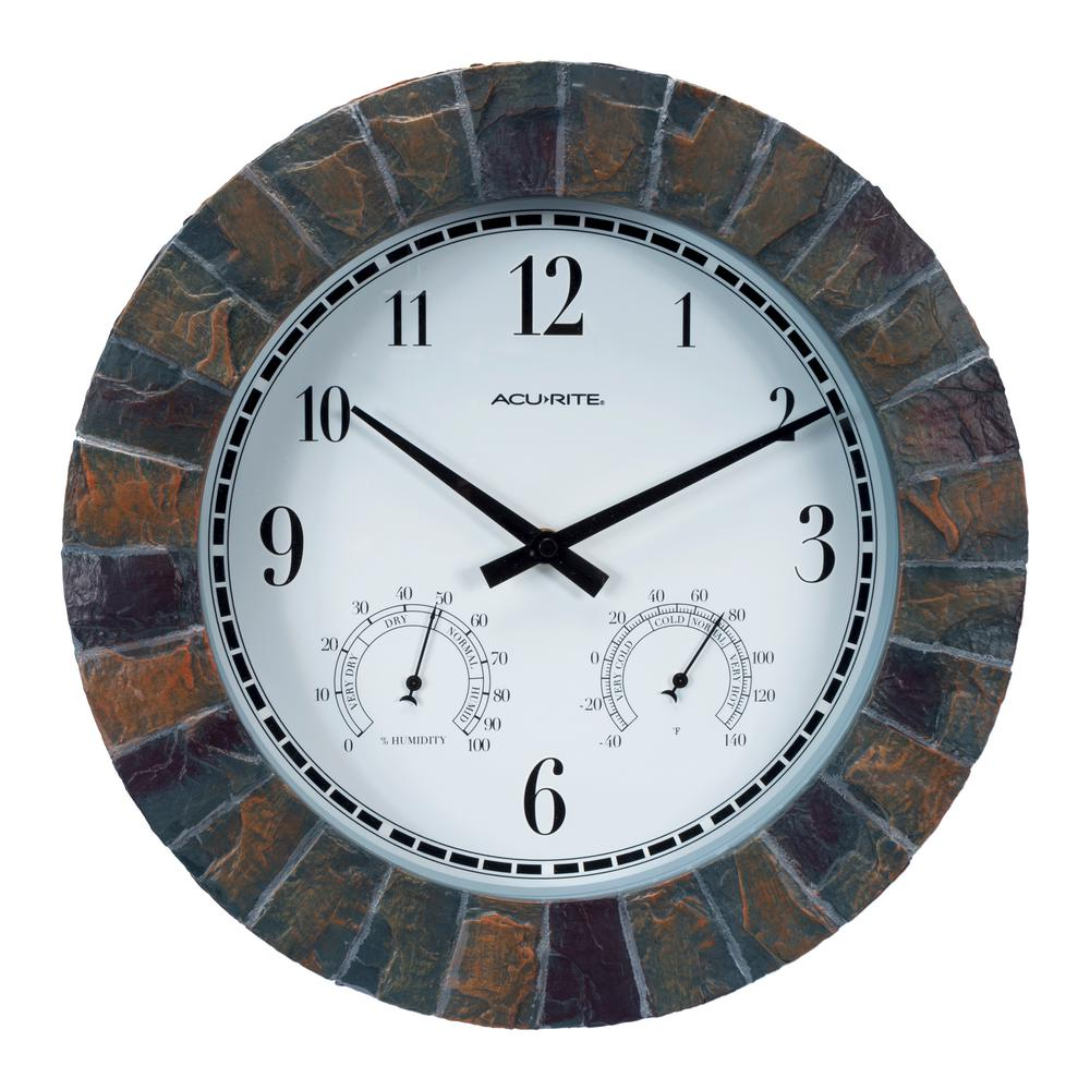14 in. Faux Slate Wall Clock with Analog Thermometer and Hygrometer
