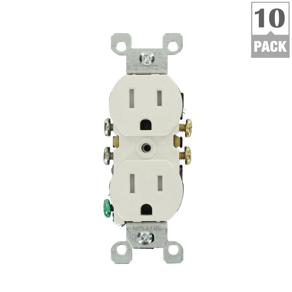 Leviton 15 Amp Tamper Resistant Duplex Outlet White 10 Pack M22 Decora 4way Switch Whiter58056042ws The Home Depot
