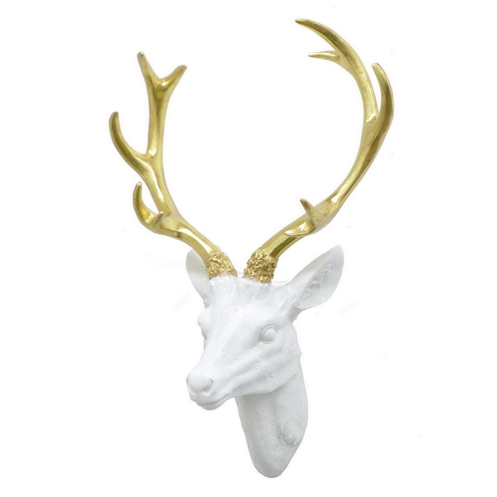 Exceptional THREE HANDS Resin Deer Head Wall Decor
