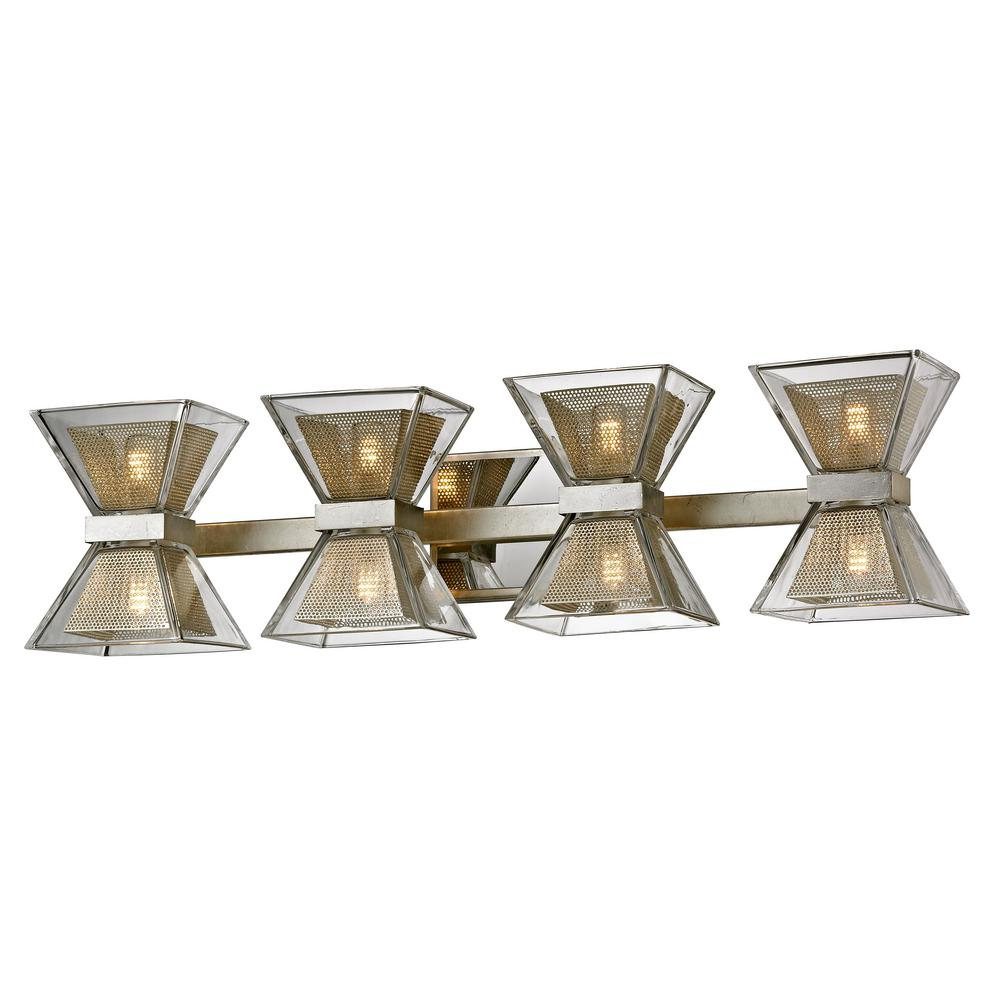 Troy Lighting Expression 8-Light Silver Leaf 27.5 in. W LED Bath Light with Clear Glass Shade