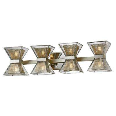 Expression 8-Light Silver Leaf 27.5 in. W LED Bath Light with Clear Glass Shade