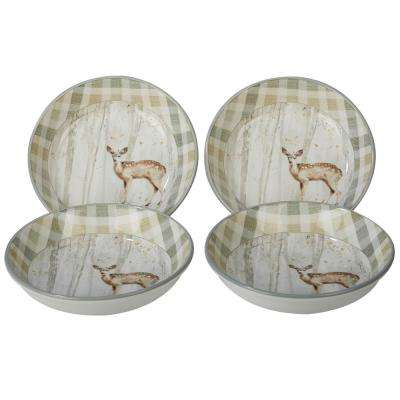 A Woodland Walk 9.25 in. x 2 in. 4-Piece Grey and Sepia Soup and Pasta Bowl Set