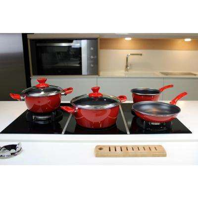 Fit 7-Piece Non-Stick Porcelain on Steel Cookware Set in Red