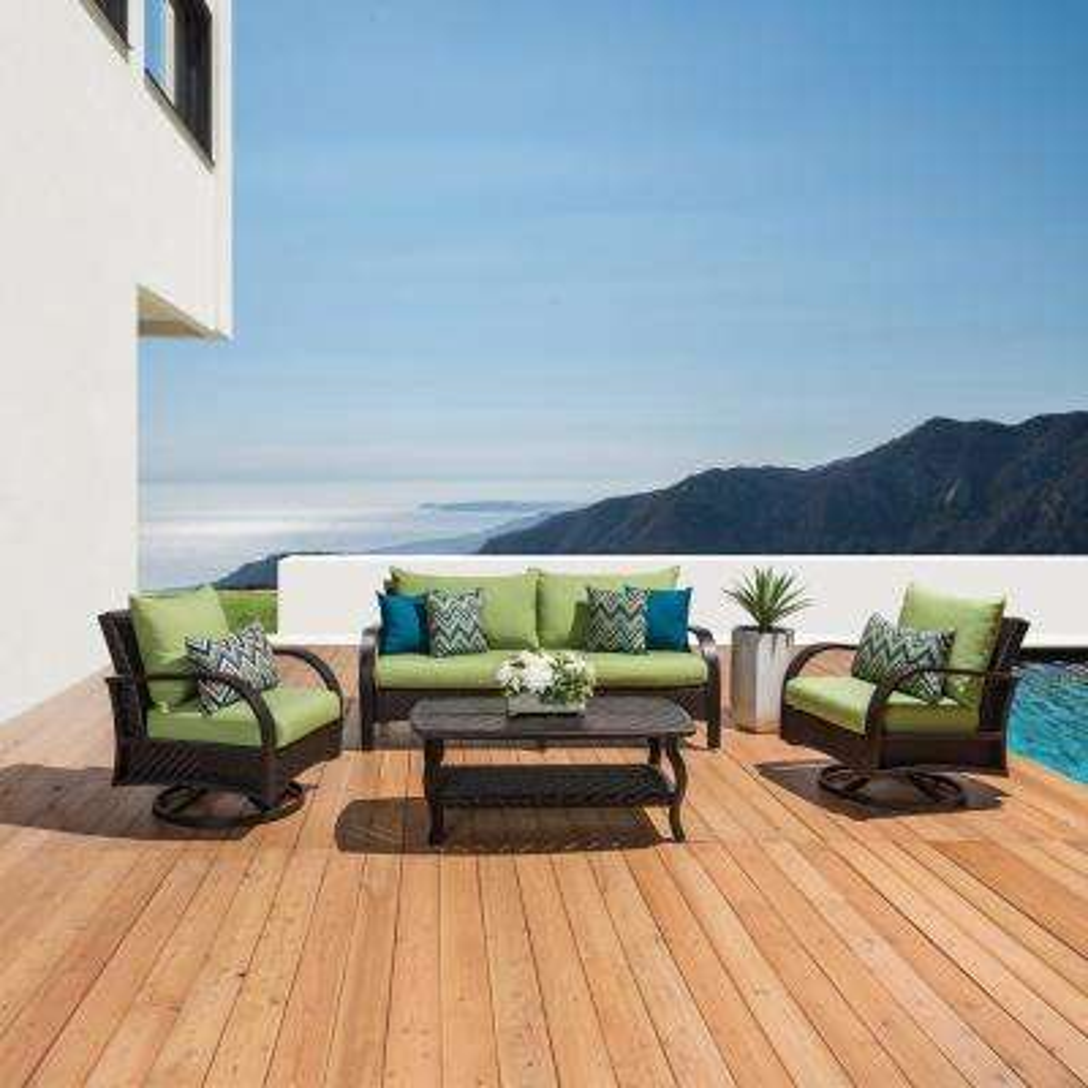 Barcelo 4-Piece Motion Wicker Patio Deep Seating Conversation Set with Sunbrella Ginkgo Green Cushions