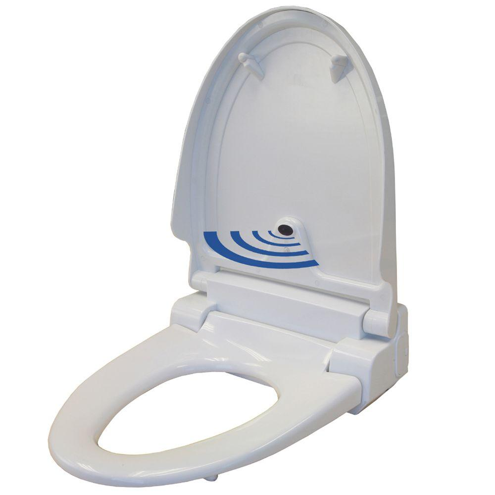 iTouchless Elongated Touch-Free Sensor Controlled Automatic Toilet Seat in White