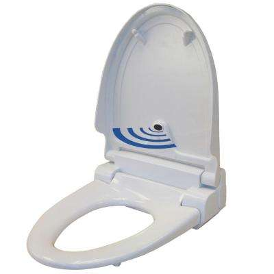 Elongated Touch-Free Sensor Controlled Automatic Toilet Seat in White
