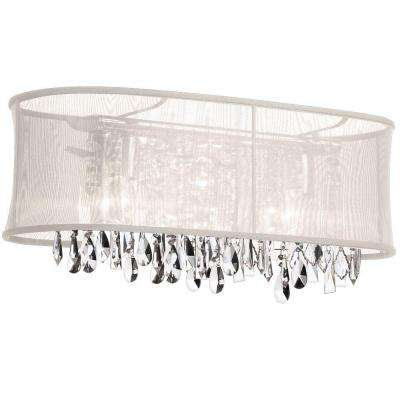 Bohemian 4-Light Polished Chrome Vanity Light with Crystals and Oyster Oval Organza Shade