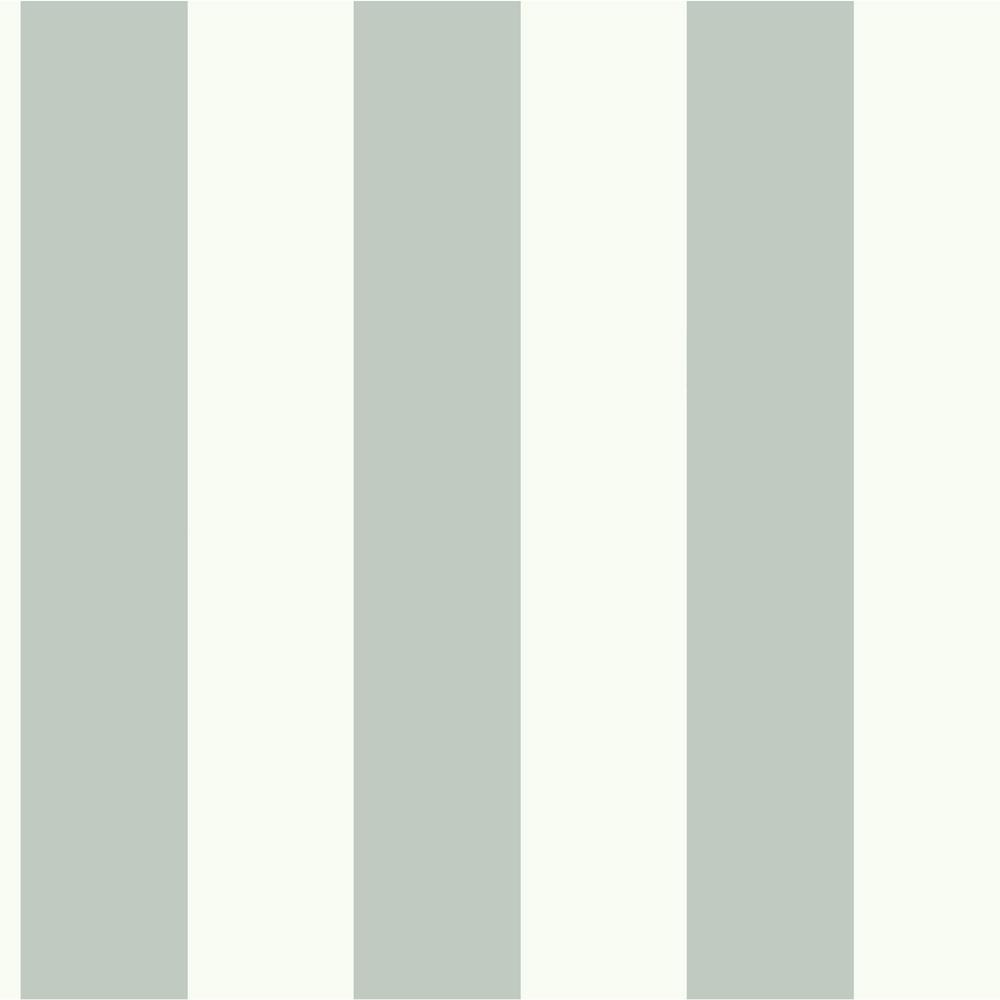 56 sq. ft. Green and White Awning Stripe Removable Wallpaper