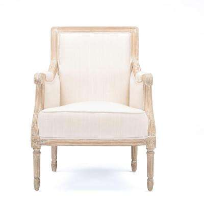 Conradina French Inspired Beige Fabric Upholstered Accent Chair