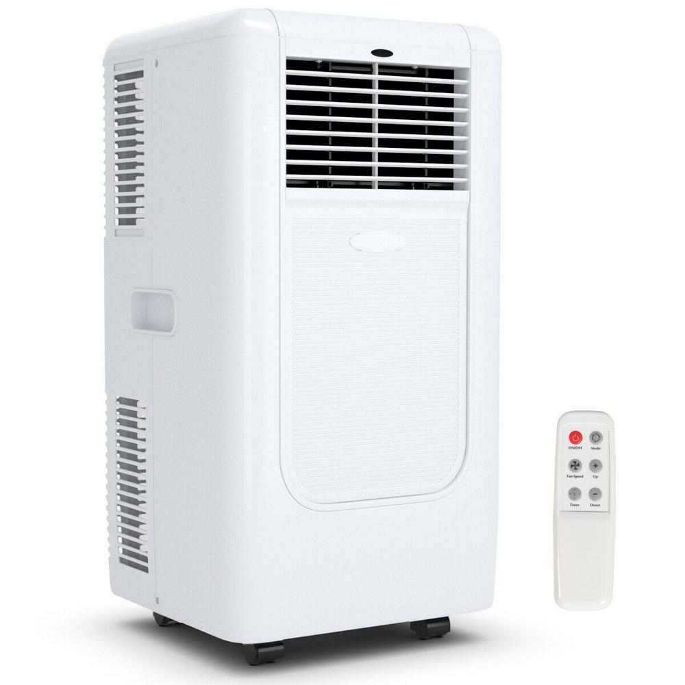 Costway Portable 10000 Btu Air Conditioner Cooling Dehumidify Timer Remote With Window Kit In White Ep23572 The Home Depot
