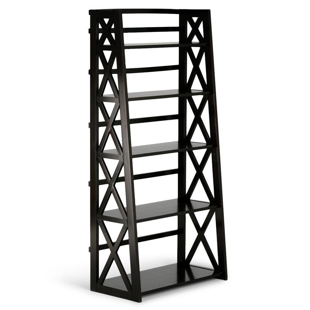 Kitchener Solid Wood 63 in. x 30 in. Contemporary Ladder Shelf in Dark Walnut Brown