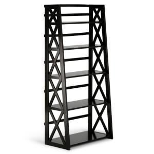 Deals on Simpli Home Kitchener Solid Wood Hickory Brown Ladder Shelf