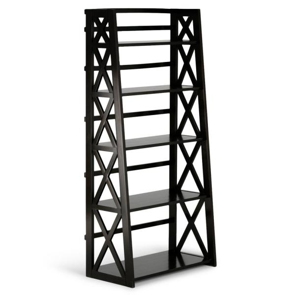 Kitchener Solid Wood 63 in. x 30 in. Hickory Brown Contemporary Ladder Shelf