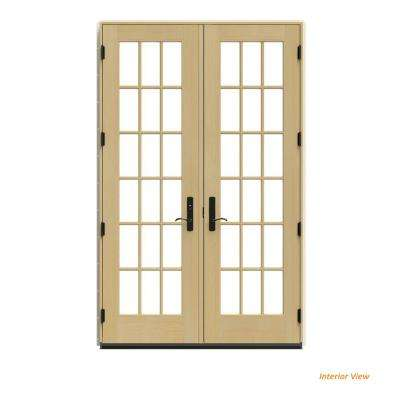 60 in. x 96 in. W-4500 Desert Sand Clad Wood Right-Hand 18 Lite French Patio Door w/Unfinished Interior