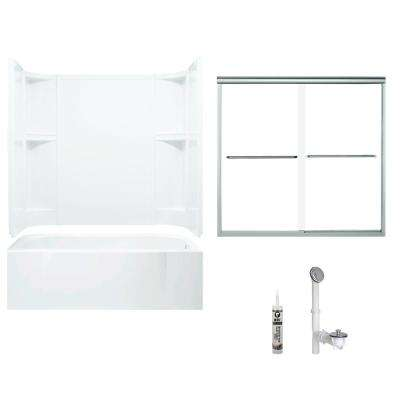Accord 30 in. x 60 in. x 72 in. Bath and Shower Kit with Right-Hand Drain in White and Chrome