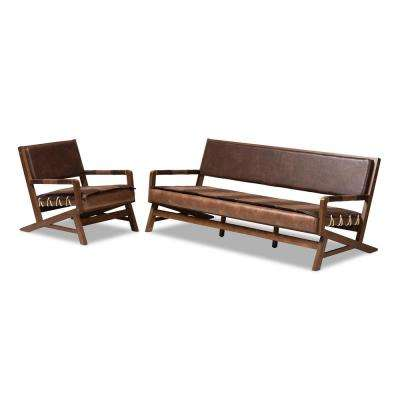 Rovelyn 2-Piece Brown and Walnut Living Room Set