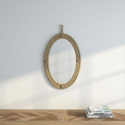 Medium Oval Brown Novelty Mirror (24.75 in. H x 16.5 in. W)