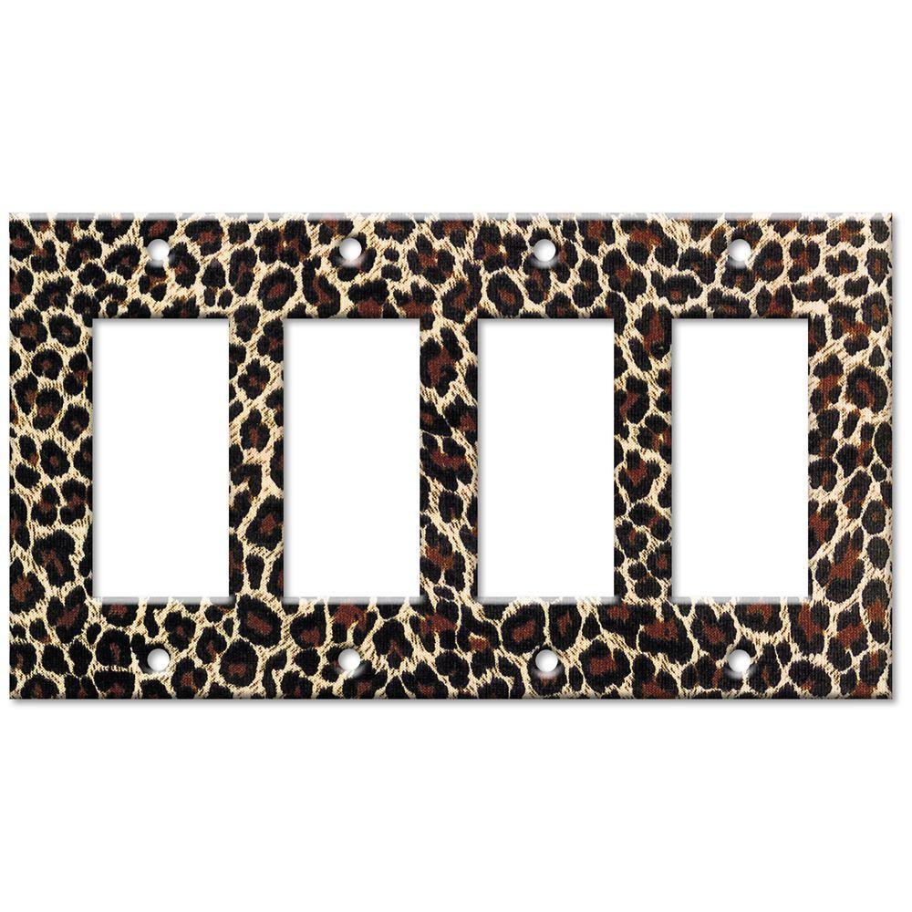 Art Plates Leopard Print Quad Rocker Wall Plate
