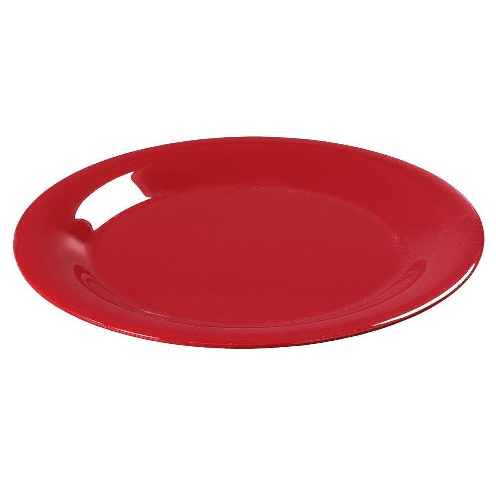 9 in. Diameter Melamine Wide Rim Dinner Plate in Red (Case of 24)
