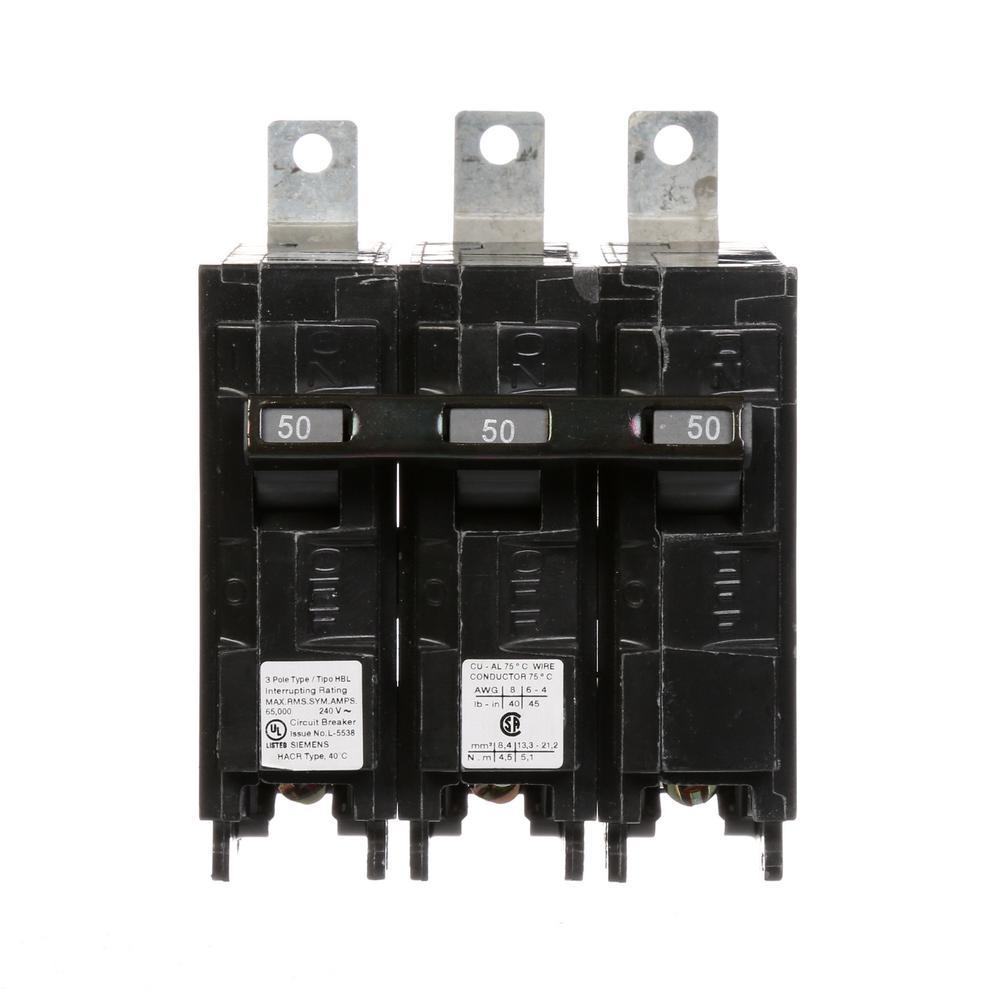 Siemens 50 Amp 3-Pole 65 kA TypeH QP Circuit Breaker