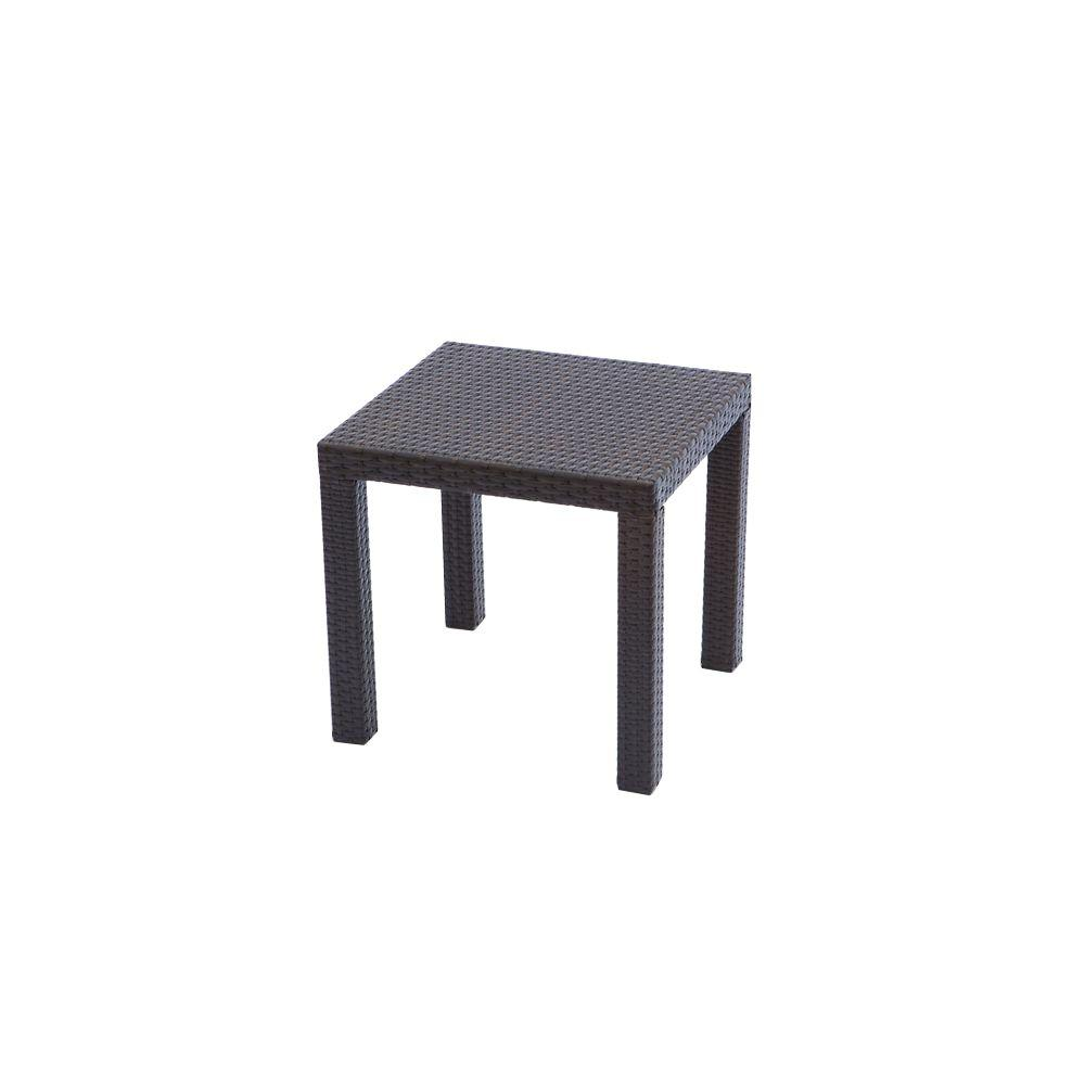 RST Brands Espresso Rattan 20 In. Square Patio Side Table