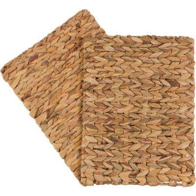 16 in. x 12 in. Rectangular Woven Indoor or Outdoor Place Mat of Natural Water Hyacinth (Set of 2)