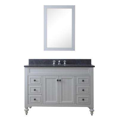 Potenza 48 in. W x 33 in. H Vanity in Earl Grey with Granite Vanity Top in Blue Limestone with Basin, Mirror and Faucet