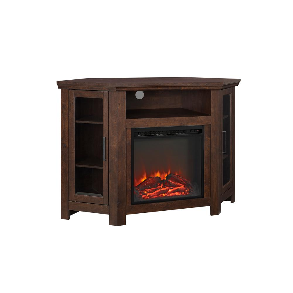 electric fireplace tv stand entertainment corner center traditional brown new 842158105981 ebay. Black Bedroom Furniture Sets. Home Design Ideas