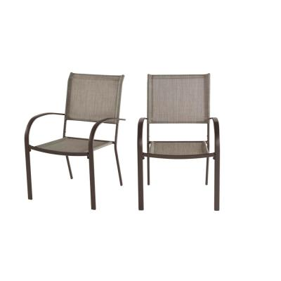 Mix and Match Stationary Stackable Steel Split Back Sling Outdoor Patio Dining Chair in Riverbed Taupe Tan (2-Pack)