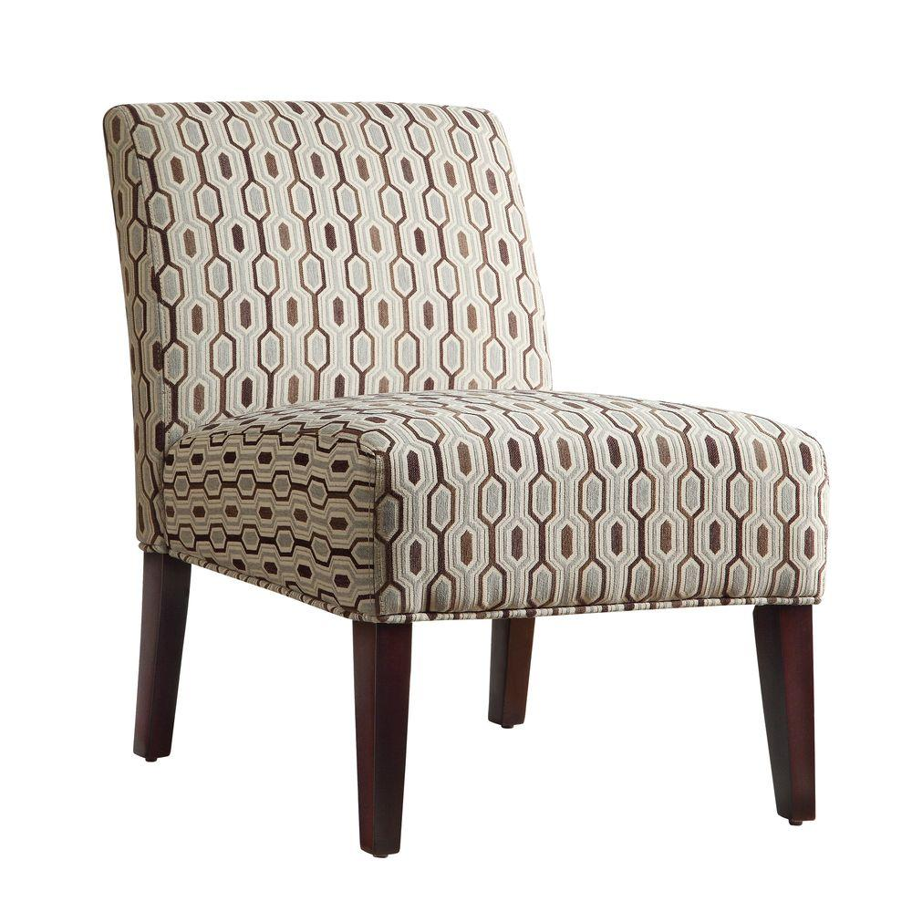 HomeSullivan Havens Fabric Slipper Chair in Mocha Honeycomb