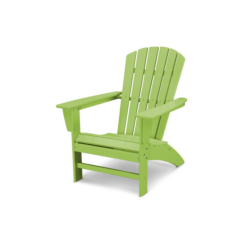 Traditional curveback lime plastic outdoor patio adirondack chair