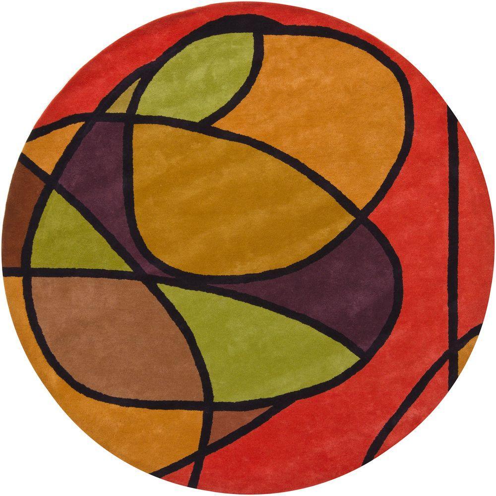 Bense Red/Orange/Green/Purple/Black 8 ft. Indoor Round Area Rug