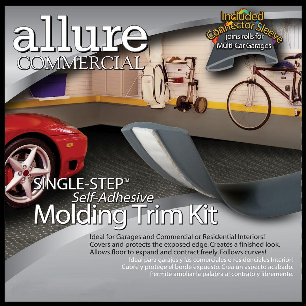 CalFlor Commercial Garage Resilient Vinyl Floor Molding Trim, Finishing Strip, Graphite, Self-Stick